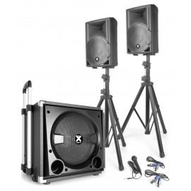 Комплект активни тонколони VX840BT +  бас със стойки и кабели BT USB MP3 Player