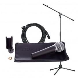Микрофон комплект със стойка и кабел SHURE SM58LCE bundle