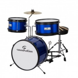 Детски барабани комплект JDK313-EB сини  три части със столче,чинел, педал и палки за деца до 6г