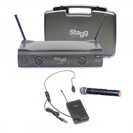 Двоен безжичен микрофон комбиниран SUW50 NCE  вокален и хед сет за глава
